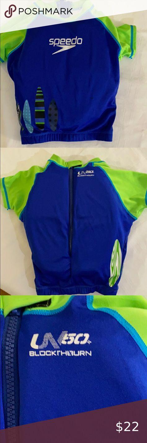 """Speedo Child's Flotation Shirt UV50 Speedo Flotation Block the Burn UB50 Shirt. Built in neoprene floats. Zips and Velcro's in back for extra security. Med/large 22""""chest, 33-45 lbs Speedo Swim"""
