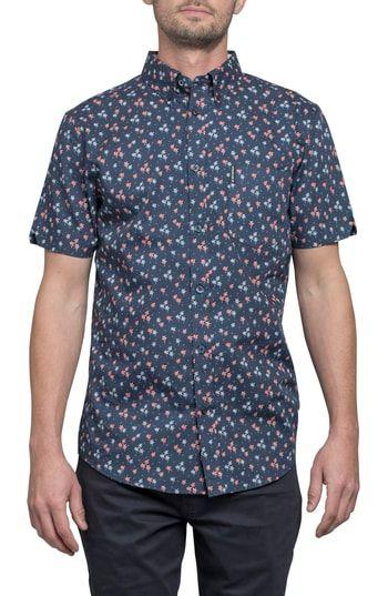 Ben Sherman Mens Short Sleeve Palm Tree Print Shirt