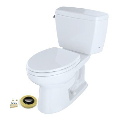 Toto Eco Drake Dual Flush Two Piece Elongated 1 28 Gpf Universal Height Toilet For 10 Inch Rough In With Toilet Seat Wax Ring And Toilet Mounting Bolts Wall Mounted Toilet Toilet Wax Ring