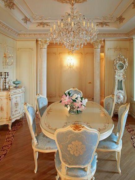 Dining Room White French Provincial Furniture With Soft Blue On