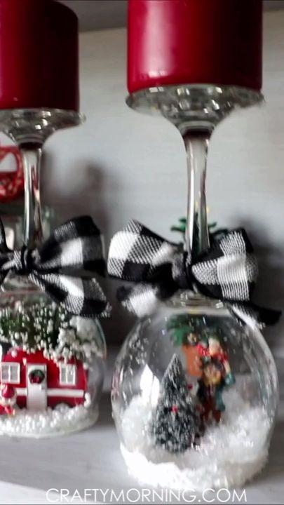 Wine Glass Snow Globe Candle Holders