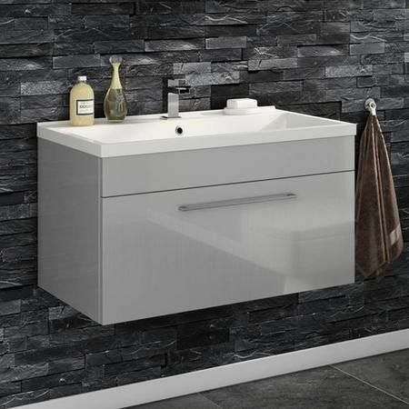 Buy Moderno Grey Wall Hung Basin Unit Without Basin 800mm Wide