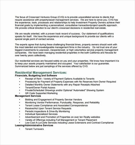 Property Management Proposal Template In 2020 Proposal Templates