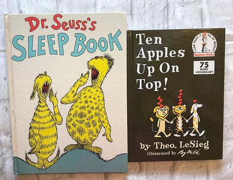 Lot of 2 Vintage Dr Seuss Hardcover Books -Ten Apples Up On Top
