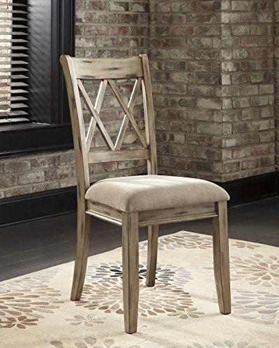 Mestler Antique White Color Dining Upholstered Side Chair Set Of