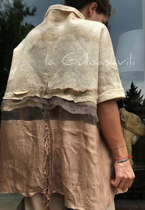 Filcowe góry sweter z filcu złoty wierzch Nuno Felt sztuka