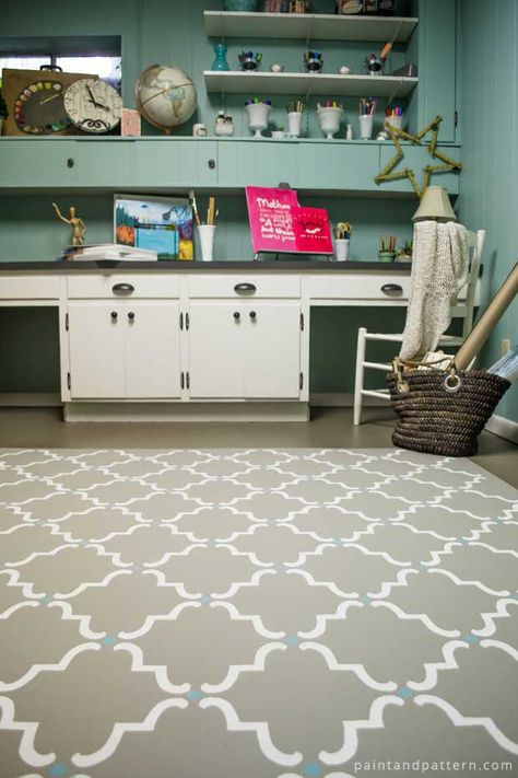 How to Paint the Floor With Moorish Trellis Stencils from Royal Design Studio | Paint + Pattern