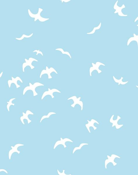 'Gulls' Wallpaper by Tea Collection - Baby Blue - Wallpaper Roll - Sample