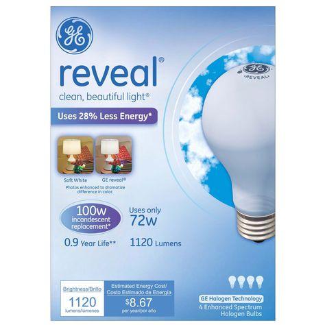 Ge Lighting 67774 72 Watt Soft White Reveal Halogen Light Bulb