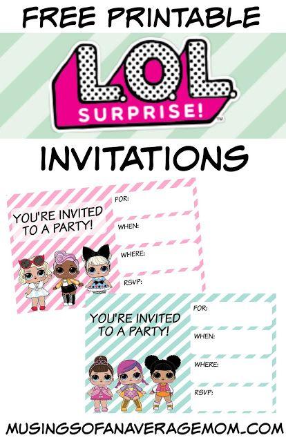 L O L Surprise Invitations Birthday Surprise Party Girl Birthday Party Invitations Birthday Party Invitations Free