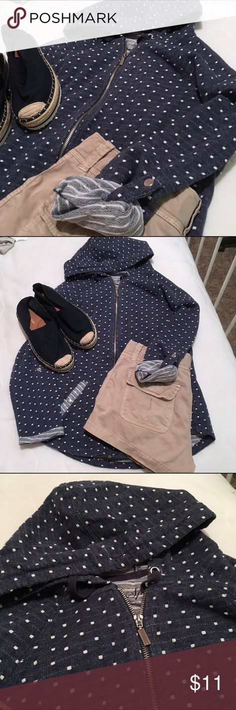 Navy blue and white polka dot zip up Style & Co. Navy blue with white polka dots zip up, detail on the sleeves to cuff up (as pictured). Pictured with khaki shorts and shoes which are both available in my closet separately. 🔆 no trades Style & Co Tops Sweatshirts & Hoodies