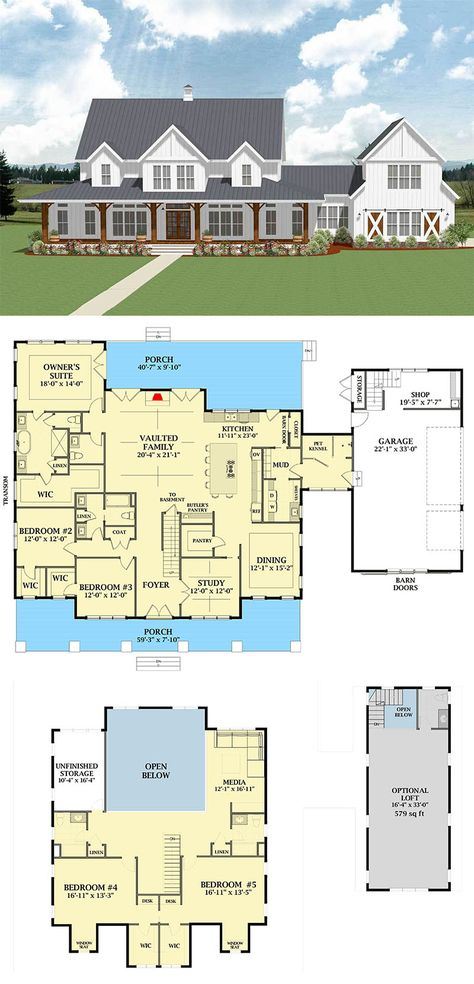 Most Popular Farmhouse Plans - Blueprints, layouts and details of the best farmh.Most Popular Farmhouse Plans - Blueprints, layouts and details of the best farmhouses on the market. Building your dream home in the country? Country House Plans, Dream House Plans, Small House Plans, Dream Houses, House Design Plans, 5 Bedroom House Plans, Log Houses, House In The Country, Small Floor Plans