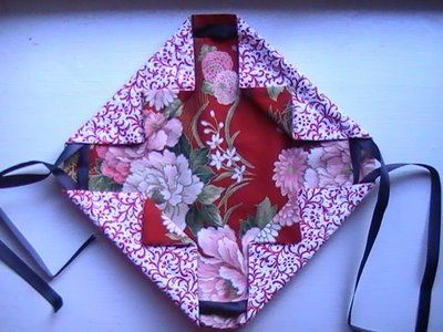 Origami Drawstring Pouch from 2 Squares of fabric