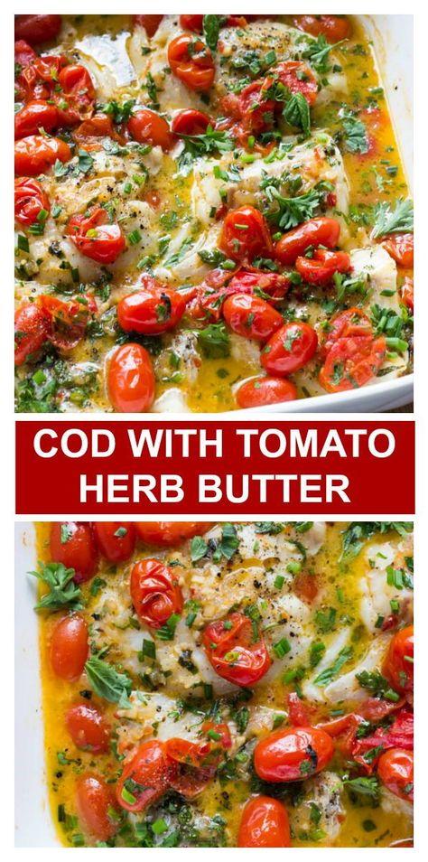 Best Cod Recipes, Cod Fish Recipes, Baked Cod Recipes, Favorite Recipes, Baked Tomato Recipes, Pike Recipes, Best Seafood Recipes, Healthiest Seafood, Savoury Recipes