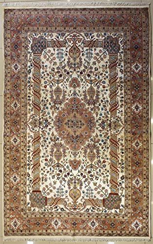 Rugstc 6 1 X 9 6 Pak Persian Area Rug With Silk Wool Pile Floral Design 100 Original Hand Knotted In Ivory R In 2020 Persian Area Rugs Area Rugs Carpet Handmade