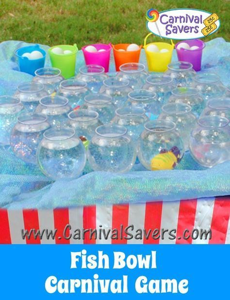 Fish Bowl Carnival Game - Easy Setup - great for school carnivals and fundraising carnivals too! Halloween Carnival Games, Diy Carnival Games, Carnival Booths, Carnival Games For Kids, Halloween Games For Kids, Carnival Themed Party, Carnival Birthday Parties, Kids Party Games, Easy Halloween