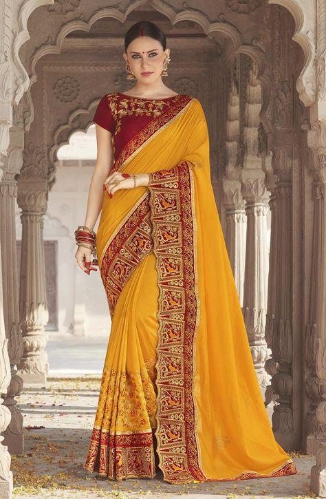9c7bc28b959cd Yellow Satin Silk Designer Sarees 618468 in 2019