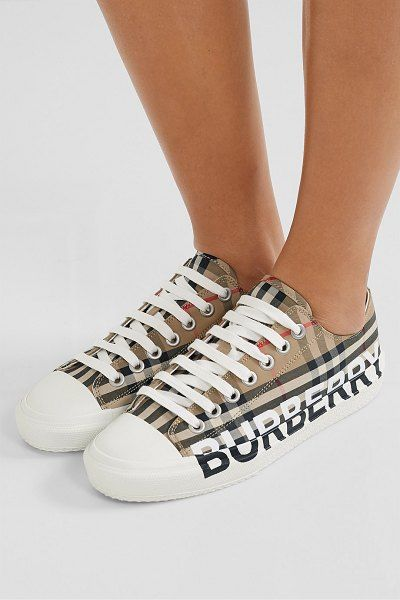 Print Checked Cotton-Canvas Sneakers
