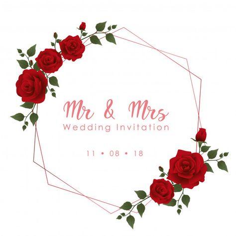 Zaproszenia ślubne czerwone róże Premium Wektorów
