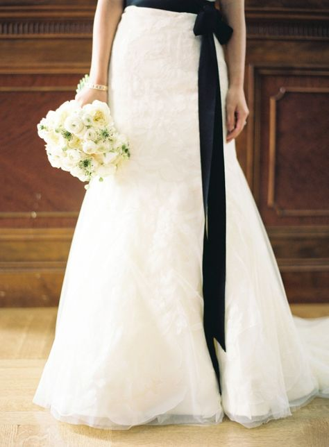 Beautiful Wedding Dress With Black Sash And Bouquet Black