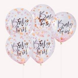 Ginger Ray Rose Gold Oh Baby Confetti Balloons Baby Shower Party Decorations 5 Pack