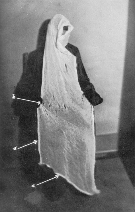 Portrait of medium Helen Duncan from Harry Price's Regurgitation  archives/ ectoplasm