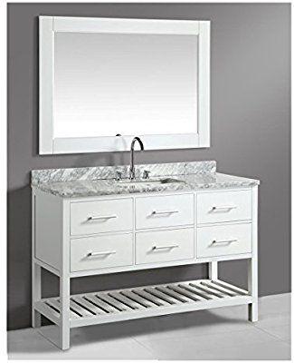Design Elements London 54 Single Sink Vanity Set With White
