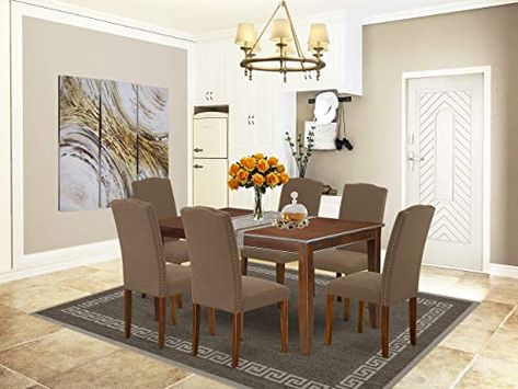 New East West Furniture 7 Pieces Dining Room Table Set Dark Coffee Linen Fabric Dining Ch In 2020 Dining Room Table Set Fabric Dining Chairs Mid Century Dining Table