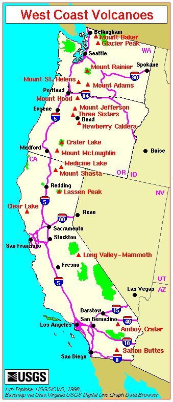 Map Major West Coast Volcanoes We Call This Home Guess Where - Map of major california cities