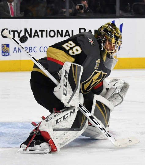 Las Vegas Nv January 02 Marc Andre Fleury 29 Of The Vegas Golden Knights Defelcts A Nashville Predat Vegas Golden Knights Golden Knights Las Vegas Knights
