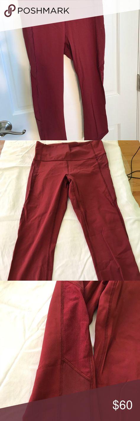 59384e89877b35 Lululemon crop EUC red lululemon crop workout pants. Mesh design on sides.  Cropped at