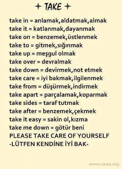 TAKE fiili kullanımı - basit ingilizce Burada İngilizce'de TAKE kelimesini  inceleyeceğiz. TAKE kelimesi hep karşına f… | Ingilizce dilbilgisi,  Dilbilgisi, Ingilizce