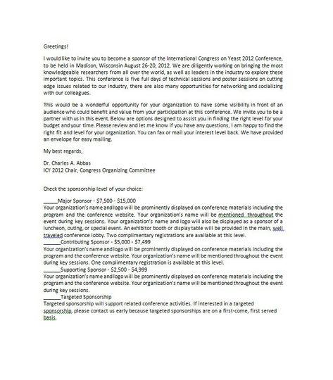 Sponsorship Letter Template 33 Business Docus Pinterest - personal sponsorship letter