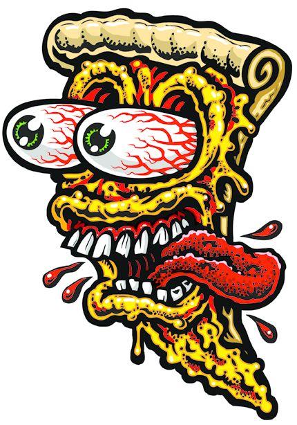 Pizza Freak Full Color Shaped Vinyl Sticker From Jimbo Phillips Webstore Pizza Art Skateboard Art Japanese Embroidery