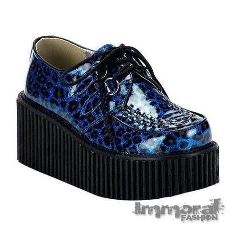 97b0385b1ab Demonia Creeper 208 Leopard Print Platform Shoes Gothic Punk Cheetah Goth  Blue