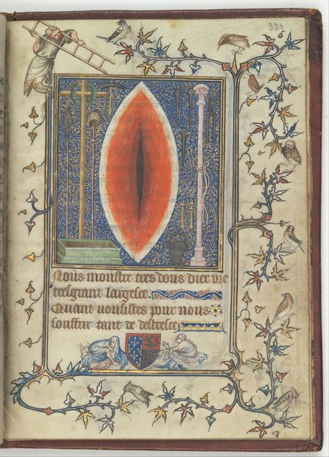 """In search of sexual symbolism in medieval art, I find Wound of Christ, Psalter and Prayer book of Bonne de Luxembourg (1345). """"… In this image, Christ's wound is both seal and vagina …"""" —Constructing Medieval Sexuality.  I did a couple weeks of research into the sexual symbolism of certain instances of the divine wound for a paper but then I got too unnerved and weirded out and changed the topic."""