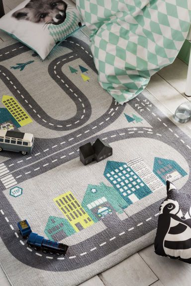 Cotton Rug With Printed Motif In 2020 Playroom Rug Kids Bedroom