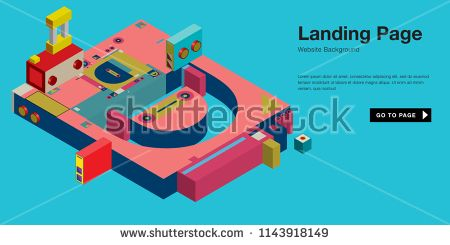 Colorful isometric 3d website background template  Trendy