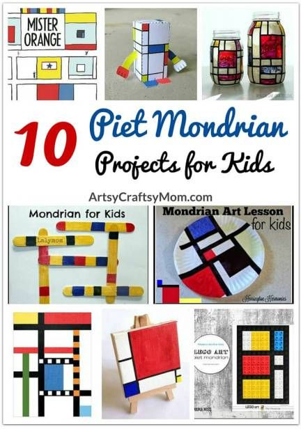 Mondrian - 10 projetos de arte para crianças Piet Mondrian's work show us the importance of focusing on what's truly important. So here're 10 Piet Mondrian's projects for kids to get inspired from! Piet Mondrian, Mondrian Kunst, Mondrian Dress, Mondrian Art Projects, School Art Projects, Projects For Kids, Project Projects, History Projects, Art Lessons For Kids