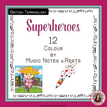 Colour By Music Notes And Rests Superhero Theme Music Notes Superhero Theme Music Coloring