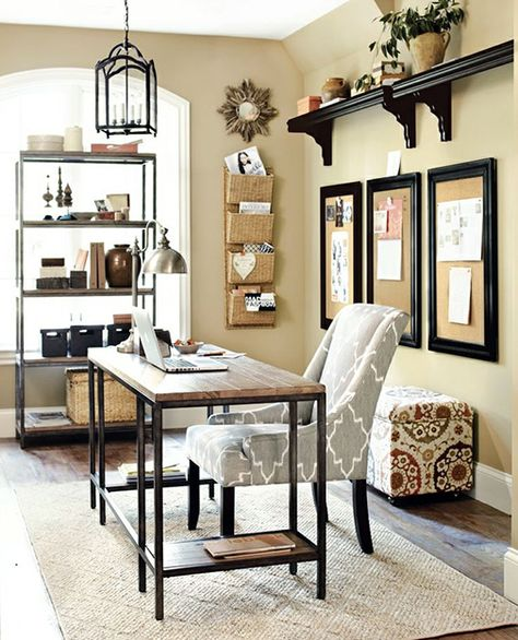 15 Great Home Office Ideas   Like the style of this room. I already have the fabric that the ottoman is covered in to recover a chair.