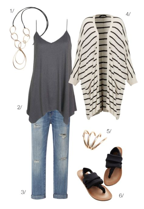 easy casual style // jeans, tank, and striped cardigan with long bronze and leather necklace // click for outfit details
