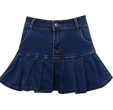 8d1a1f35a3 Yeokou Women's Casual Slim A-line Pleated Ruffle Short Mini Denim Skirts (X-Large,  Blue) at Amazon Women's Clothing store: