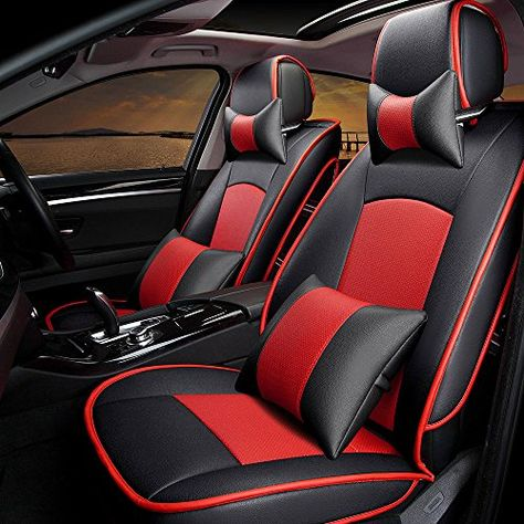 Flying Banner Full Set Black and Red Universal Lichee Pattern Pu Leather Sporty Car Seat Covers with Football pattern Embroidery Design and Side Airbags