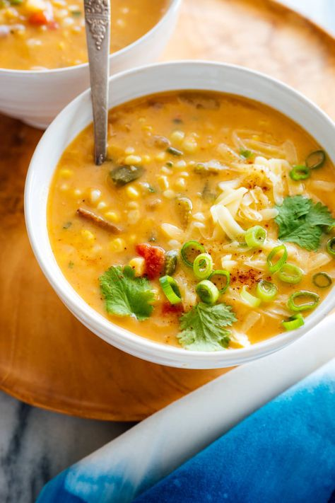 Make this vegetarian, Southwestern-flavored corn chowder for a cozy dinner at home! This recipe is fresh, wholesome and delicious. #cornchowder #corn #chowder #vegetarian #fallrecipe #cookieandkate