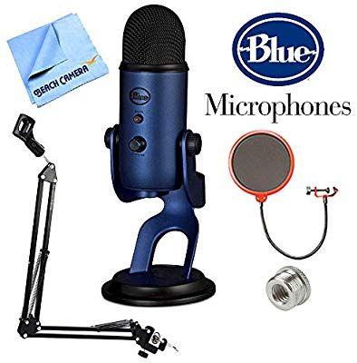 Amazon Com Blue Microphones Yeti Professional Usb Desk Microphone Blackout Blackoutyeti Suspension Boom Sciss Blue Microphones Usb Microphone Microphone