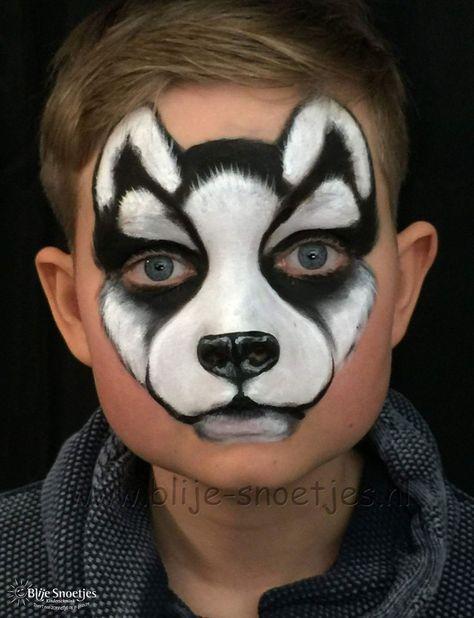 Kinder schminken Husky - Hund