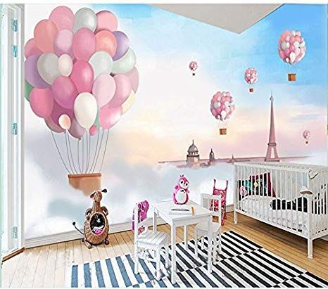 Wh-Porp 3D Tapete 3D Cartoon Pink Ballon Wandaufkleber Für Living ...