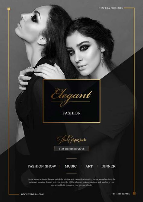 Free Elegant Fashion Flyer PSD Template for Clubs