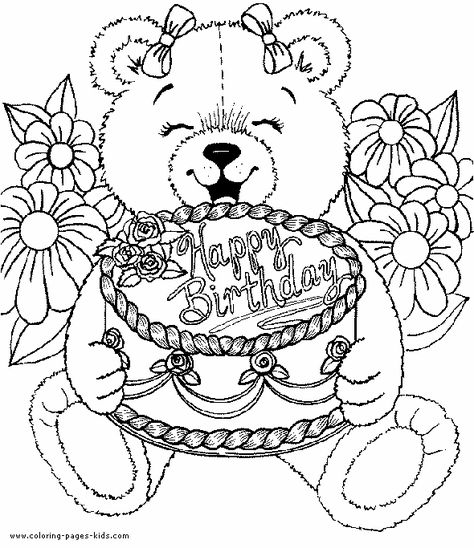 Free Coloring Pages For Adults Birthday Coloring Pages For Kids Birthday Coloring P Happy Birthday Coloring Pages Birthday Coloring Pages Bear Coloring Pages